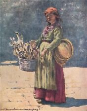 VENEZIA. 'The wooden-spoon seller' by Mortimer Menpes. Venice 1916 old print