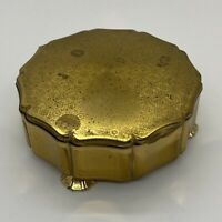VINTAGE Stratton Lidded Trinket Box Gold-Tone With Red Velvet Lining Floral Etch