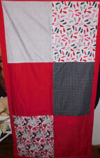 """Nice 64 1/2"""" X 35 1/2"""" Hat And Gloves Print Quilt With Red Border"""