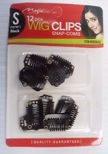 "Snap-Comb Hair Wig Clips Small 15/16"" Color Black, 12-Pack"