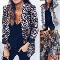 Retro Lady Long Sleeve Leopard Print Suit Jacket Slim Fit Single Breasted Blazer