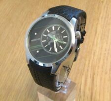BRAND NEW MENS HENLEYS WATCH BLACK AND GREEN DIAL BLACK LEATHER STRAP 17473