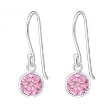 Zirconia Round Drop/Dangle Earrings 925 Sterling Silver Pink Cubic