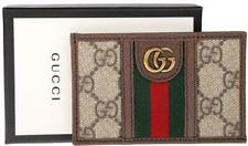 NEW GUCCI OPHIDIA GG CANVAS LEATHER DOUBLE G WEB DETAIL CARD CASE WALLET W/BOX