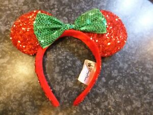Disney Parks Red and Green Sequin Minnie Mouse Ears Headband