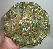 """HELIOS GREEN IMPERIAL GLASS RUFFLED OPEN ROSE FOOTED 8"""" CARNIVAL BOWL VINTAGE"""