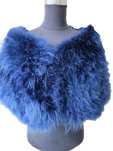 Real Ostrich Feather Fur Shawl Shrug Cape For Bride Wedding Party Fluffy Soft
