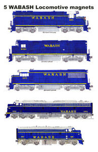 Wabash Blue-era Locomotives 5 magnets by Andy Fletcher