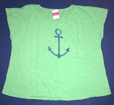 Fresh Produce M L Xl Kiwi Green Anchor Nautical Keepsake Slouchy Tee Top Nwt O/S