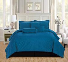 7Pc Queen Solid Teal Blue/Black Micromink Velvet Comforter Set Bedding
