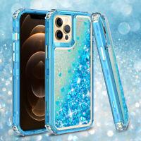 For iPhone 12/12 Pro Max/Mini Case Glitter Bling Liquid Cover+Screen Protector