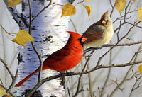 ZWPT235 charming 100% hand-painted two birds wall art oil painting on canvas