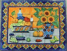 # 20 Mexican Talavera Mosaic Mural Tile Handmade Still Life Sunflower Backsplash