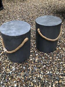 Concrete Stools Modern style Concrete look Stool rope Handles, Grey PAIR !!!!!