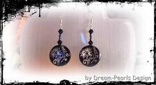 ♥ Dream-Pearls Design Ohrringe Perlmutt schwarz filigran Flower silber ♥ OH072