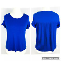 MARKS AND SPENCER Cobalt Blue Pleated Back Top Blouse Size 12 Petite (D1)