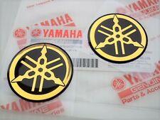 Yamaha Tuning Fork Stickers Decals 45mm GOLD FZ FJ RD YZ x 2