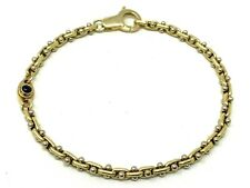 "Italian 14k Two Tone Gold Fancy Link Bracelet with Blue Sapphire 7"" 9.1 grams"