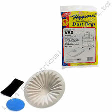 VAX VACUUM DUST Bags & FILTER KIT 6131 7131 6151SX 5120 8131 5 Pack of Bags