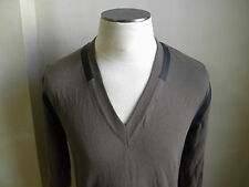 DOLCE&GABBANA AMAZING SAND V NECK SWEATER WITH BLACK PVC LINE TRIM 50 M PULLOVER