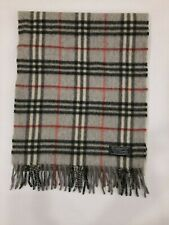 Genuine Burberrys Classic Check Grey 100% Cashmere vintage winter scarf scarves
