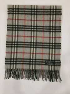 Genuine Burberrys Classic Check Grey 100% Cashmere vintage winter scarf scarves