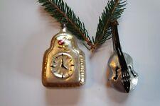 Geige und Uhr, nostalgischer Christbaumschmuck Lauscha, Handarbeit