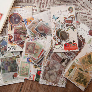 40pcs Vintage Retro Paper Stickers Diy Scrapbooking Junk Journal Sticker Crafts
