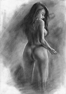original drawing А3 36PY samovar Charcoal female nude Signed 2020