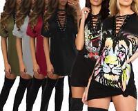 Ladies Lace Up Eyelet Neck Choker V-Neck Printed Longline T-Shirt Mini Dress Top
