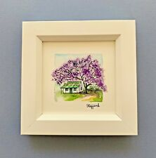 "Framed Original Miniature  Watercolour ""Jacaranda Beauty""."