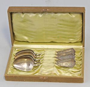 99830205 5 Silberne Kaffeelöffel um 1900/20 800er Silber Kreuzband-Dekor