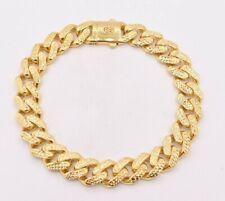 11mm Miami Cuban Royal Link Diamond Cut Box Clasp Bracelet Real 10K Yellow Gold