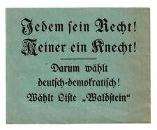 "Propaganda Liste ""Waldstein"" ca. 1920er Jahre Felix Waldstein Hamburg Altona rar"