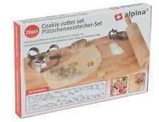 Alpina Set of 26 Metal Cookie Cutters 25 cookie cutters - 1 storage ring BRANDED