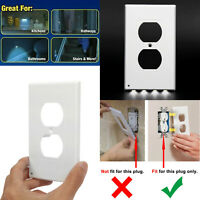 Lot Night Angel Light Sensor Outlet Cover Wall Plates W/ 4 LED Light Auto ON/OFF