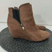"""Indigo Rd. Ankle Wedge Booties Size 9M Brown """"Danger"""" Boots"""