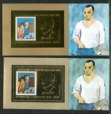 Centre Africaine 1981 PICASSO Gold Foil Or Michel Blocs 132 A+B Cote 80 euros