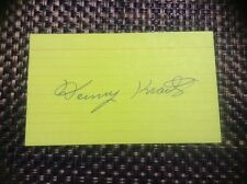 Danny Kravitz 1930-2013 Autographed Yellow 3x5 Index Card Pirates A's 1956-1960