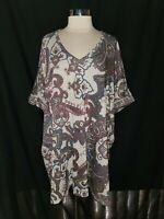 CHICO'S Size XL XXL 16 18 20 Tunic Top Shirt Grey Purple Blue Paisley