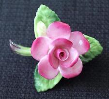 Vintage Signed CARA STAFFORDSHIRE Bone China England PINK ROSE Pin Brooch