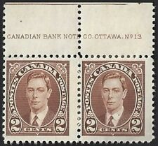 Canada    # 232 Pair   King George VI Issue    Brand New 1937 Pristine Issue