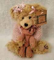 Audreys Beatrice Girl Bear With Glasses Pink Sweater Holding Bear
