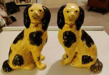 Borghese Chalkware Staffordshire Dog Book Ends Figurines circa 1930s