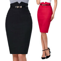 Sexy Womens Black Slim Bodycon Pencil High Waisted Ladies Stretch Midi Skirt