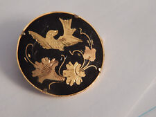 Black Mourning Brooch Pin Lovely Vintage Gold Filled Inlay
