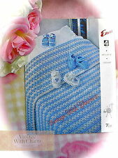 Vintage Crochet Pattern Baby's Blanket 48x48in & 2 Styles Of Bootees FREE UK P&P