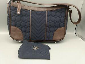 Vera Bradley Satchel/Hobo Shoulder Handbag Purse  Faux Leather Trim w Wallet