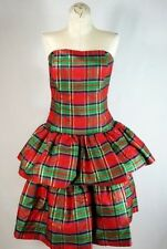 vtg Tartan PLAID TAFFETA+TULLE tiered strapless cocktail party prom Dress Sz 12