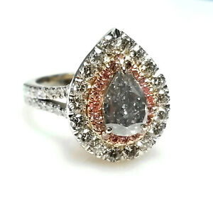 Real 2.75ct Natural Fancy Light Blue & Pink Diamonds Engagement Ring GIA 18K